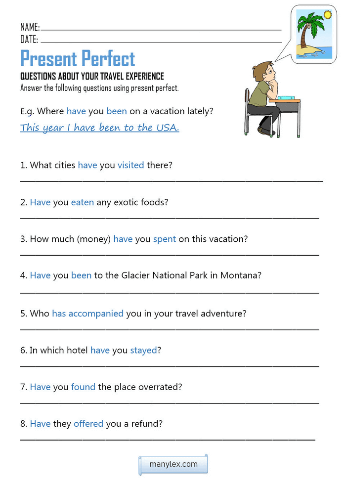 Present Perfect home assignment worksheet